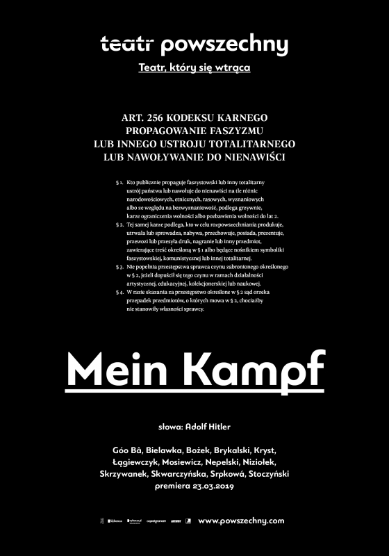 Варшава: «Mein Kampf» в театре Powszechny